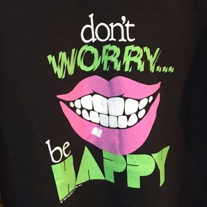 1988 Dont worry be happy Print Sweater 80s Vintage